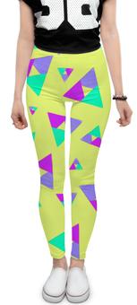 """Леггинсы """"Треугольник 1"""" - треугольник, желтый, голубой, фиолетовый, пурпурный"""