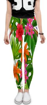 """Леггинсы """"Тропики"""" - лето, цветы, summer, природа, тропики"""