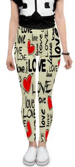 """Леггинсы """"Любовь"""" - сердце, любовь, день святого валентина, надписи, i love you"""