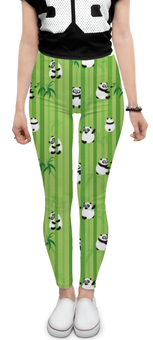 "Леггинсы ""Панды"" - животные, панда, растения, панды, бамбук"