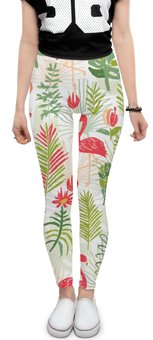 """Леггинсы """"тропики"""" - цветы, листья, природа, тропики, фламинго"""
