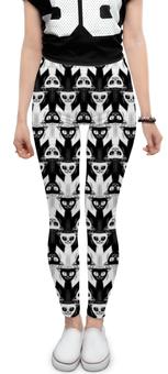 "Леггинсы ""Cats Black-White"" - стиль, кошки, коты, абстракция, иллюзия"