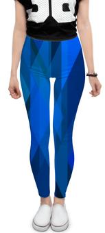 """Леггинсы """"Синий абстрактный"""" - графика, синий, краски, абстракция, треугольники"""