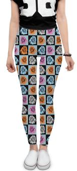 """Леггинсы """"Коты в клеточку"""" - кот, мода, паттерн, в клеточку, небесно-голубой"""
