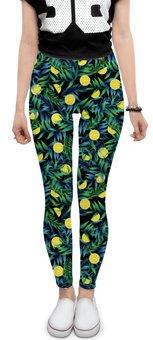 """Леггинсы """"Яркие лимоны в тропиках"""" - мода, fashion, флора, орнамент, лимон"""