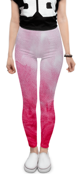 """Леггинсы """"Розовая буря"""" - белый, розовый, акварель, фуксия, эффект"""