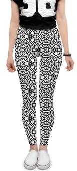"""Леггинсы """"Черное и белое"""" - белый, черный, паттерн, геометрический"""