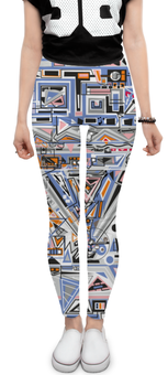 "Леггинсы ""Ташизм"" - арт, узор, синий, абстракция, фигуры"