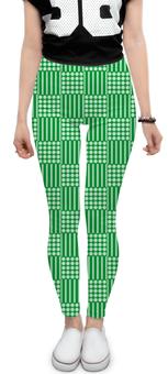 """Леггинсы """"Горох и линия"""" - полоска, зеленый, квадрат, геометрия, линия"""
