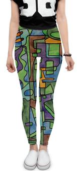 "Леггинсы ""W`ZZZZCX`90.1"" - арт, узор, абстракция, фигуры, текстура"