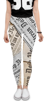 "Леггинсы ""Newspaper"" - текст, текстура, газет, newspaper"