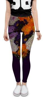"""Леггинсы """"Букет."""" - цветы, фиолетовый, букет, георгин, астра"""