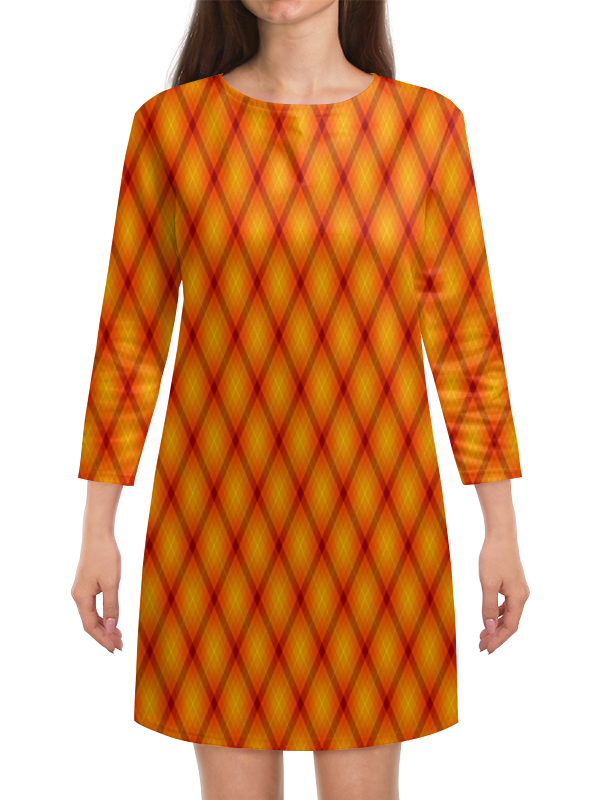 Платье с рукавами Printio Клетка оранжевая