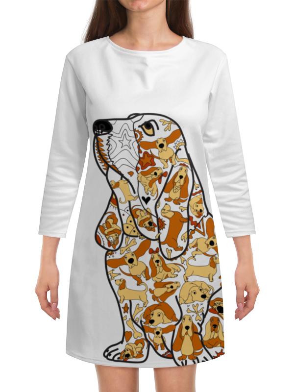 Платье с рукавами Printio Смешная собака бассет купить щенкак в донецке бассет