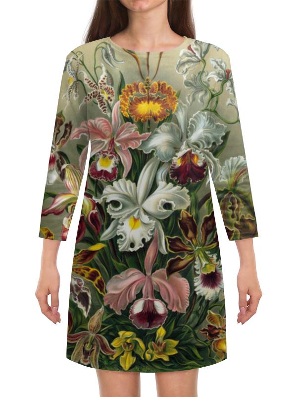 Платье с рукавами Printio Орхидеи (orchideae, ernst haeckel) самые дешевые орхидеи в москве