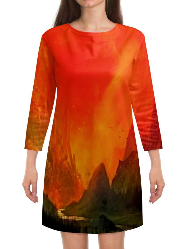 Платье с рукавами Printio Пламенный закат пламенный мотор машинка инерционная volvo пожарная охрана