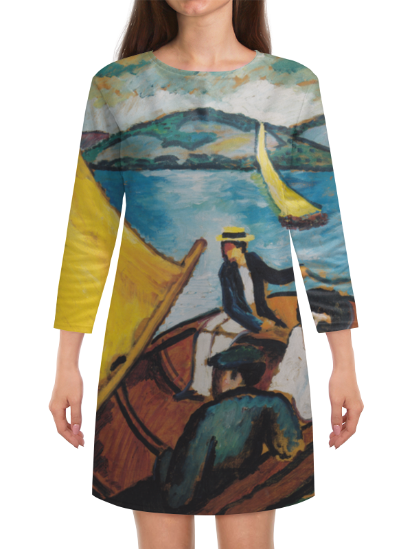Платье с рукавами Printio Парусник в тегернзее (август маке) платье без рукавов printio парусник в тегернзее август маке