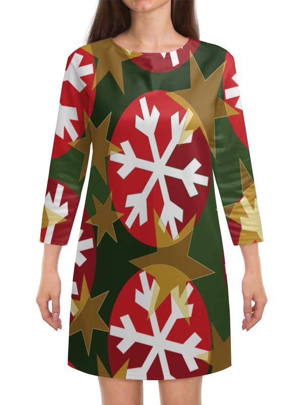 Платье с рукавами Printio Новогодние шары