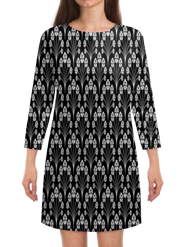 Платье с рукавами Printio Цветы черно-белые