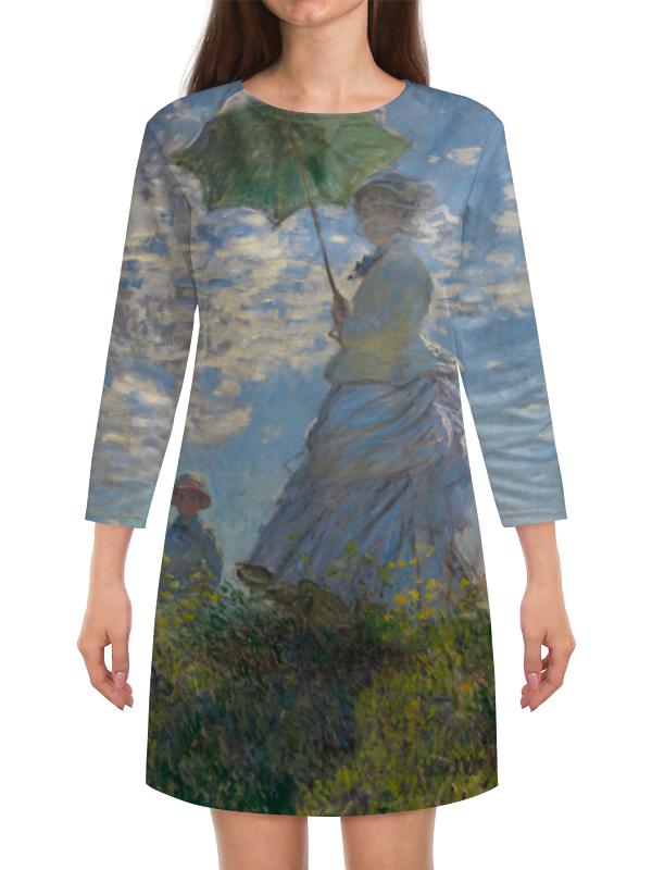 Платье с рукавами Printio Дама с зонтиком — мадам моне со своим сыном картина из кожи дама с зонтиком моне коллекция elole interior синий сплошн холст прямоуг рама