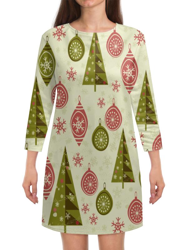 Платье с рукавами Printio Елки и игрушки шахова м новогодние елки и игрушки