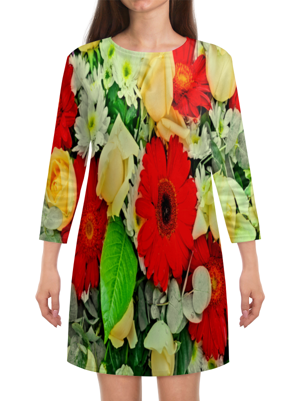 Платье с рукавами Printio Букет цветов букет из цветов жасмина