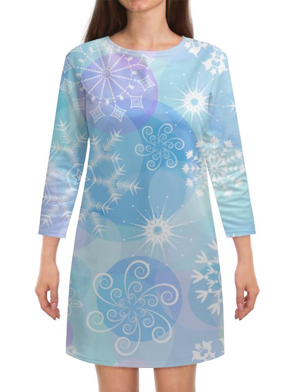 Платье с рукавами Printio Снежинка волшебная снежинка