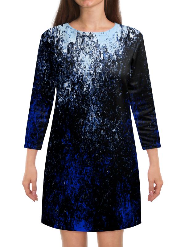 Платье с рукавами Printio Черно-синие брызги