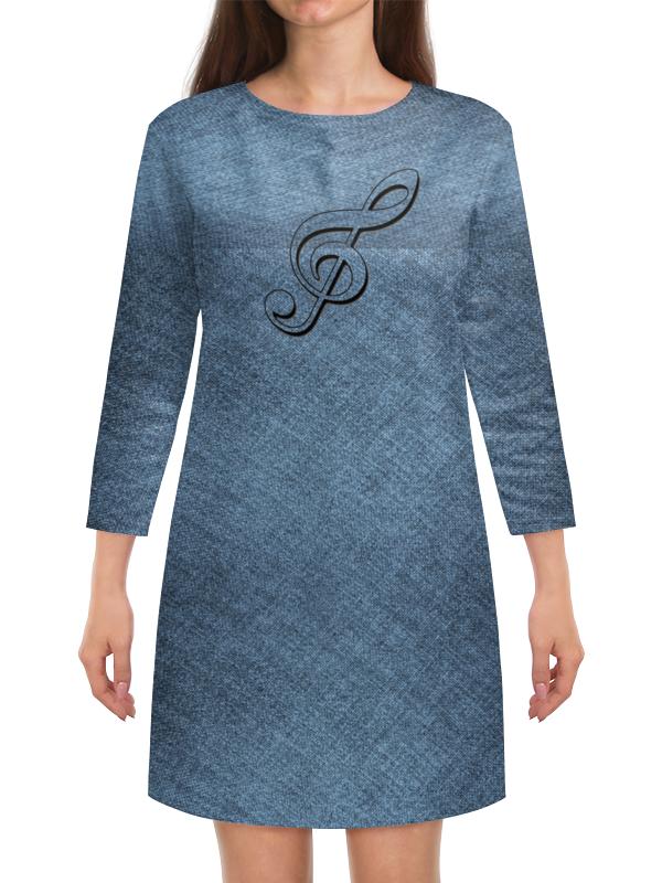 Платье с рукавами Printio Серый цвет.скрипичный ключ. платье эола цвет серый