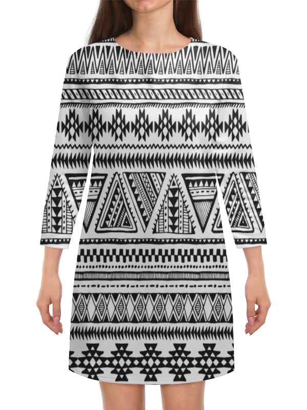 Платье с рукавами Printio Черно-белая графика маска с перьями черно белая