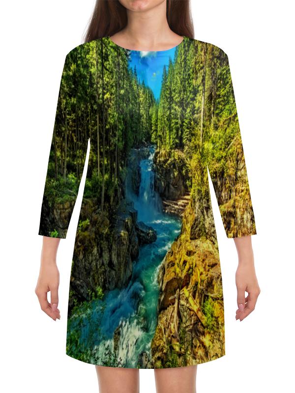 Платье с рукавами Printio Лесной пейзаж