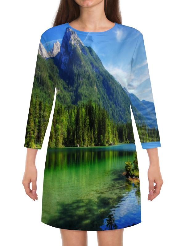 Платье с рукавами Printio Горное озеро горное гнездо