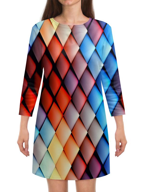 Платье с рукавами Printio Кубики абстракция платье с рукавами printio абстракция треугольники