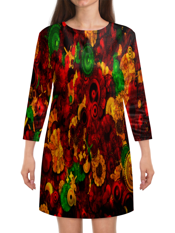 Платье с рукавами Printio Цветочная поляна куплю бу скания тягач с мордовии зубова поляна