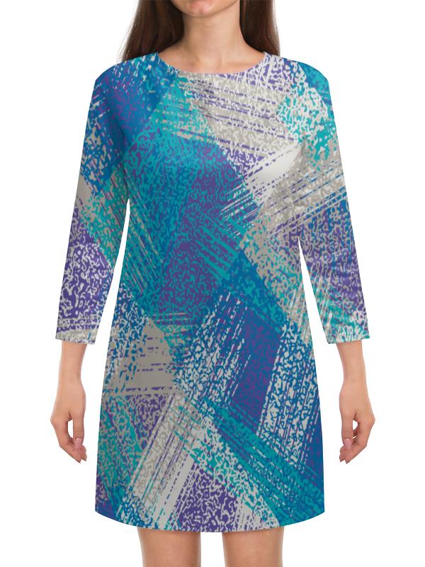 Платье с рукавами Printio Бело-синие краски