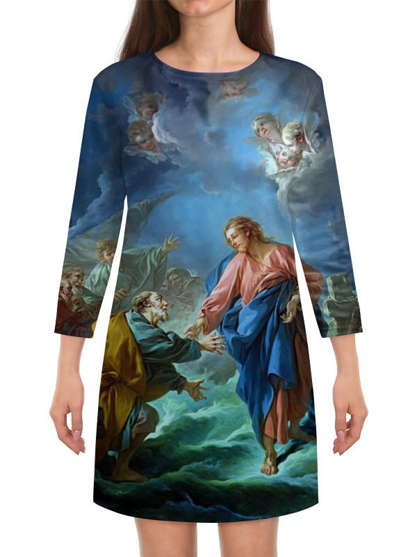 Платье с рукавами Printio Святой петр, пробующий идти по воде