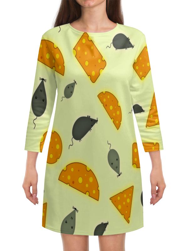 Платье с рукавами Printio Мышь и сыр полуприлегающее платье с рукавами летучая мышь s