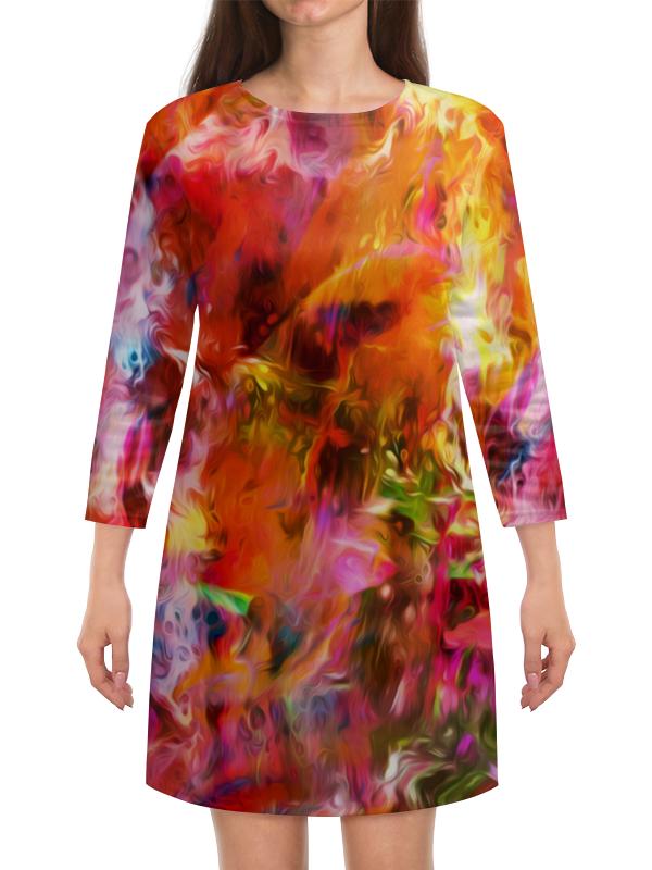 Платье с рукавами Printio Разноцветные краски платье с рукавами printio краски на воде