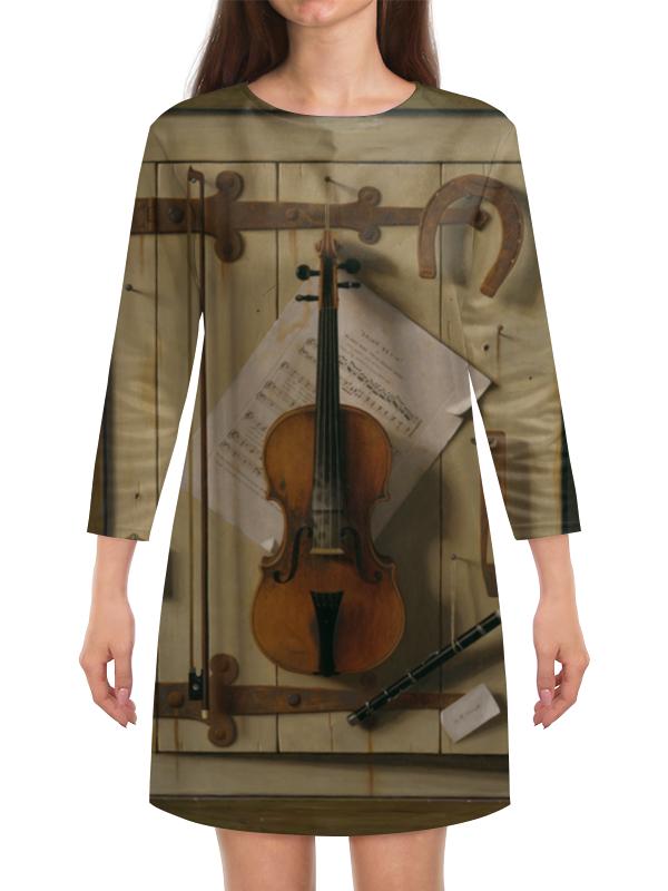 Платье с рукавами Printio Натюрморт со скрипкой (уильям харнетт) пазл castor land 68 47см натюрморт со скрипкой и живописью 1000эл