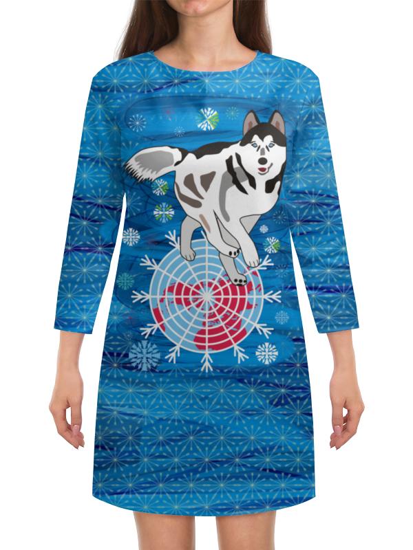 Платье с рукавами Printio Бегущая по снегам бегущая строка светодиодная дешево