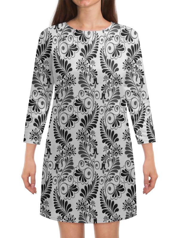 Платье с рукавами Printio Черно белая роспись маска с перьями черно белая