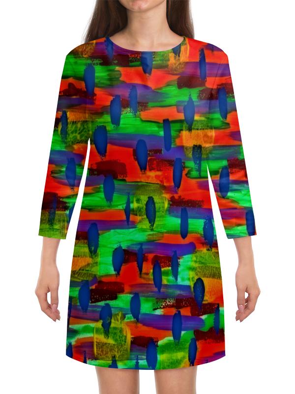 Платье с рукавами Printio Рисунок красками платье с рукавами printio цветы красками
