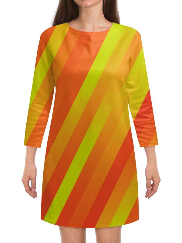 Платье с рукавами Printio Желто-оранжевые линии