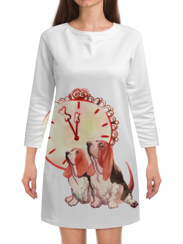 Платье с рукавами Printio Новогодние акварельные собаки платье с рукавами printio новый год