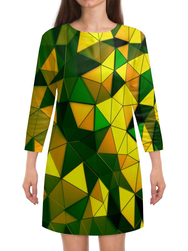 Платье с рукавами Printio Желто-зеленые стекла