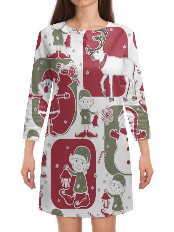 Платье с рукавами Printio Эльф и олени