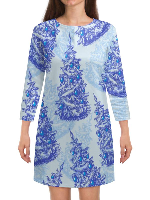 Платье с рукавами Printio Снежные елки