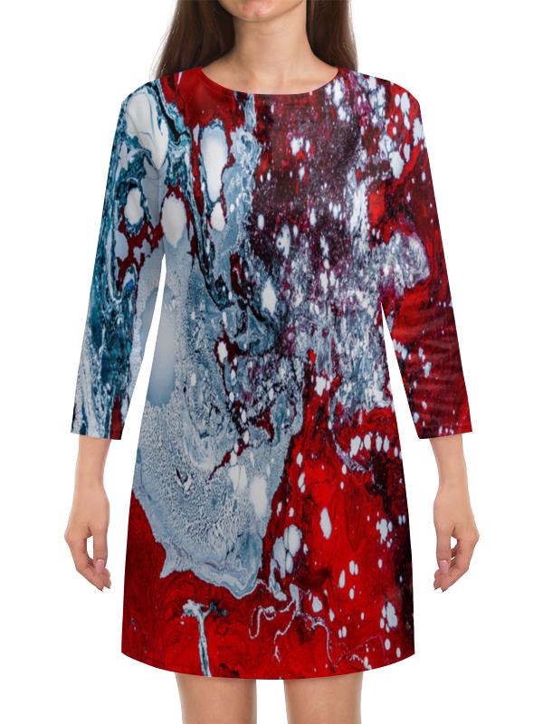 Платье с рукавами Printio Красно-белые краски платье с рукавами printio краски на воде