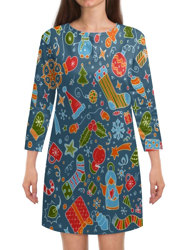 Платье с рукавами Printio Новогодние игрушки