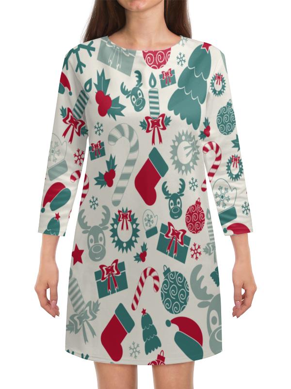 Платье с рукавами Printio Новогоднее настроение